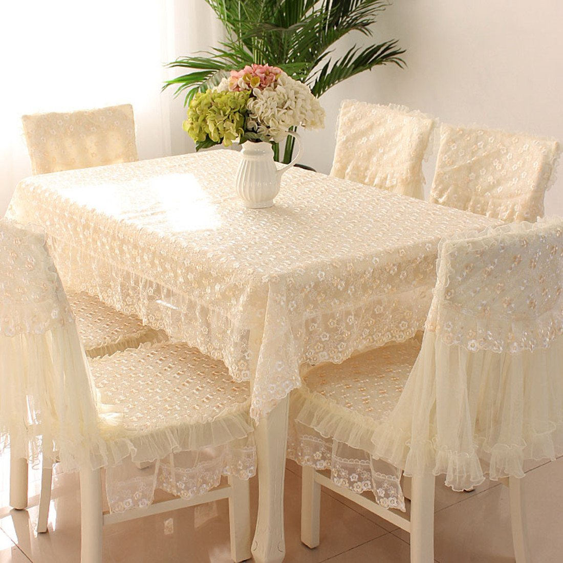 JH tablecloths Country style check lace square chair back covers and cushion cover set