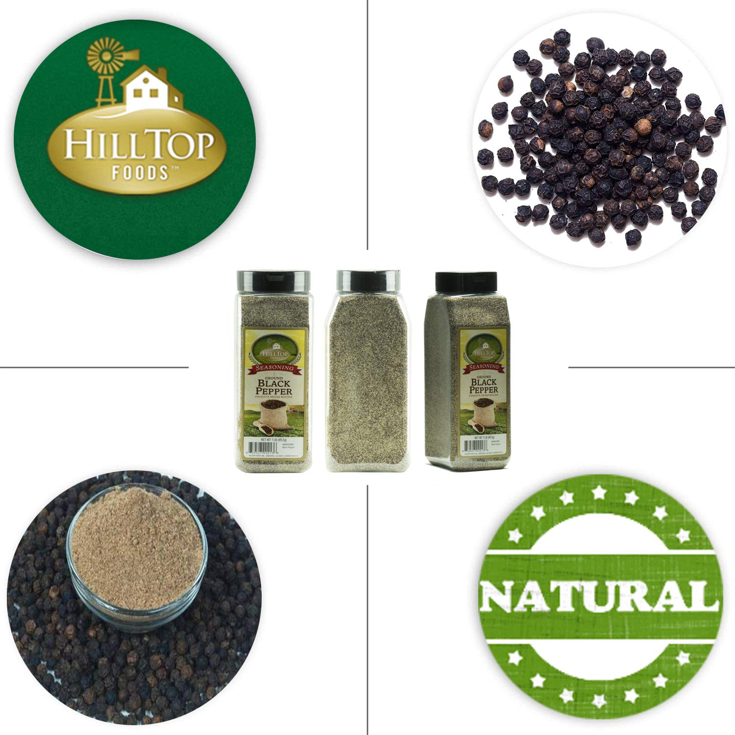 Hilltop Foods Ground Black Pepper-Natural Powder 1 Lb. Container by HillTop Foods Inc. (Image #5)