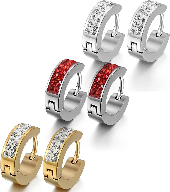 argent/é en acier inoxydable mosa/ïque avec strass 3/paires rouge et or rondes Oidea Boucles doreilles unisexes 4 mm