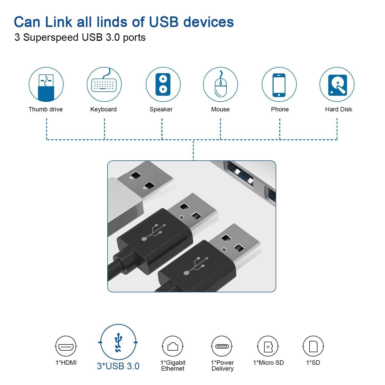 USB C Hub doedoeflu Hub Type C mit USB-C Ladeanschluss , SD/Micro ...