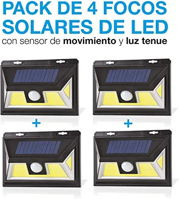 Pack de 4. Foco Solar Led con Sensor de movimiento. Foco Solar con ...