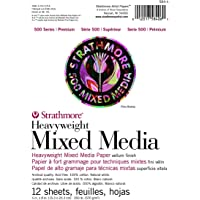 "Strathmore (584-6) 500 Series Heavyweight Mixed Media, 6""x8"", White, 12 Sheets"