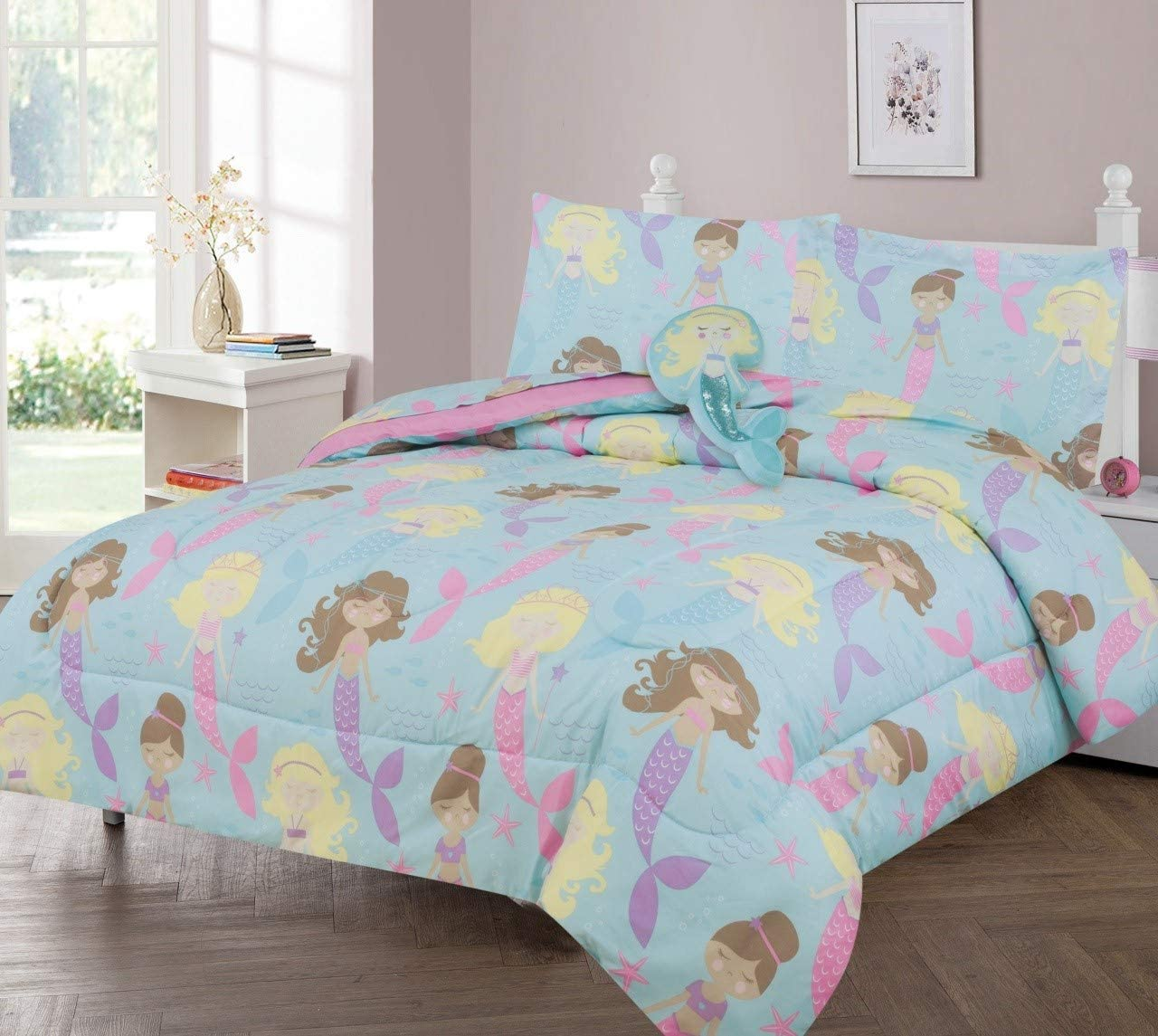 GorgeousHomeLinen Kids 6pc Aqua Blue Sleeping SEA Princess in The Water Ocean Dreaming Twin Bed in Bag Comforter with Matching Sheet Set with Pillow Friend for Girls