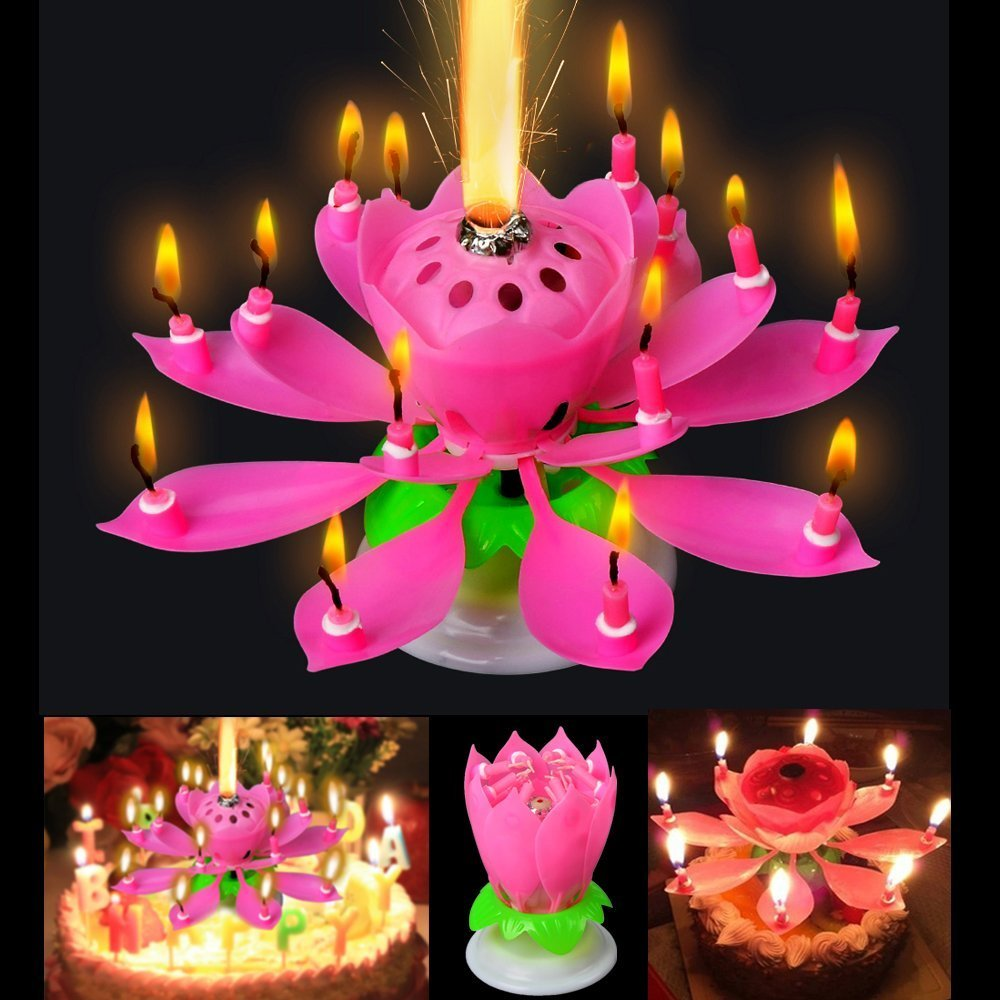 Sinfore 5pcs Set Amazing Two Layers With 14 Small Candles Lotus Happy Birthday Spin Singing Romantic Musical Flower