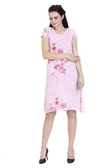 54f7586c8c ... Nighties  cheap for discount f70cc 6bbb9 Goldstroms Minelli Women Cotton  Rayon Fabric Short Gown (Pink