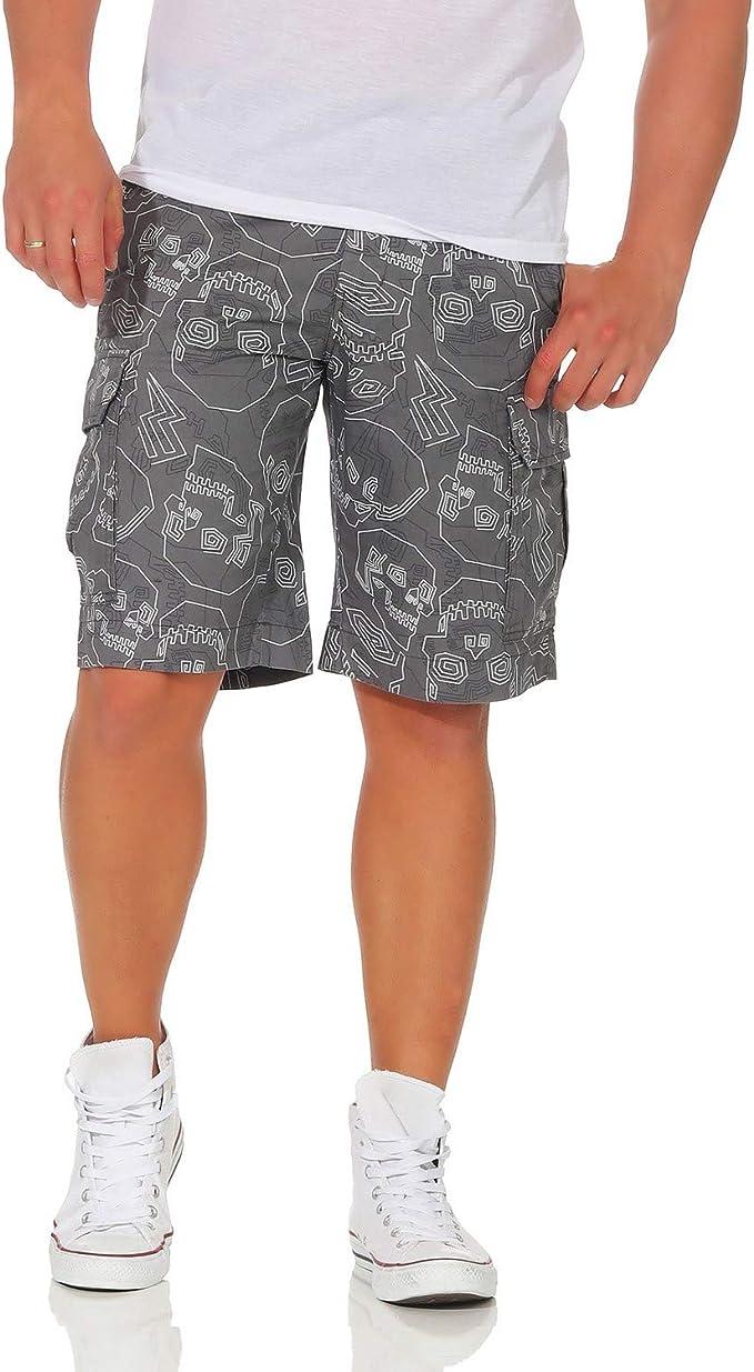 Pantalones de algodón para Hombres Pantalones Cortos de Las Bermudas Pantalones de Verano Ocio Cráneo Suelta Ajuste