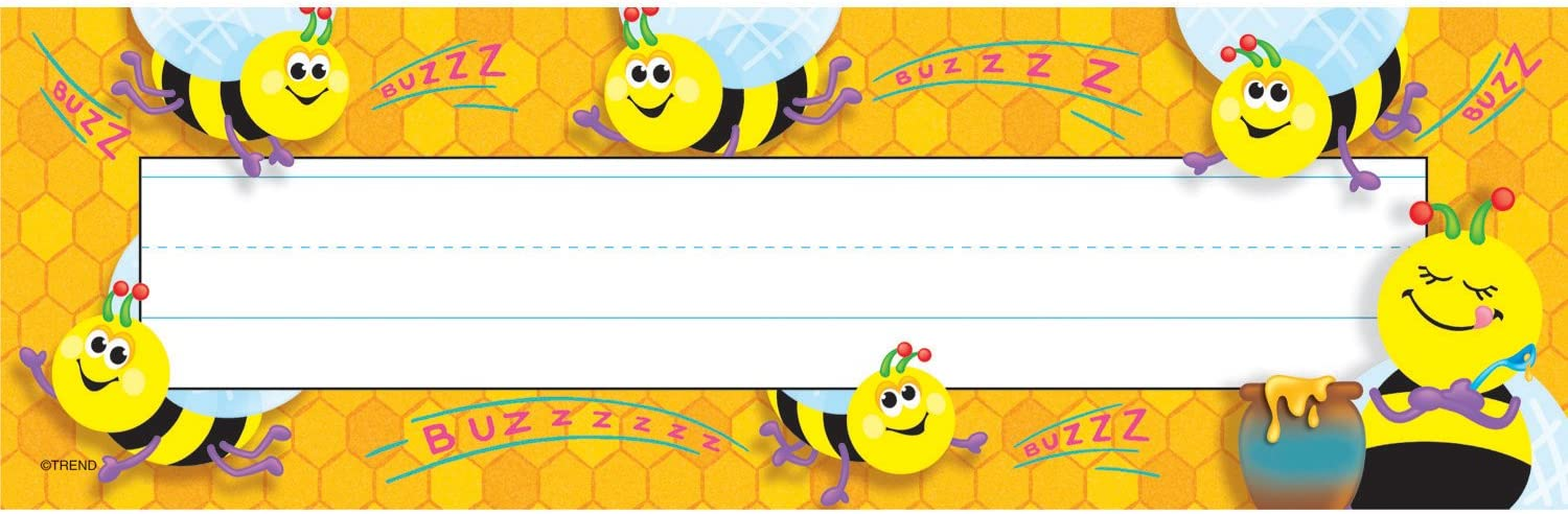 TREND enterprises, Inc. Busy Bees Desk Toppers Name Plates, 36 ct