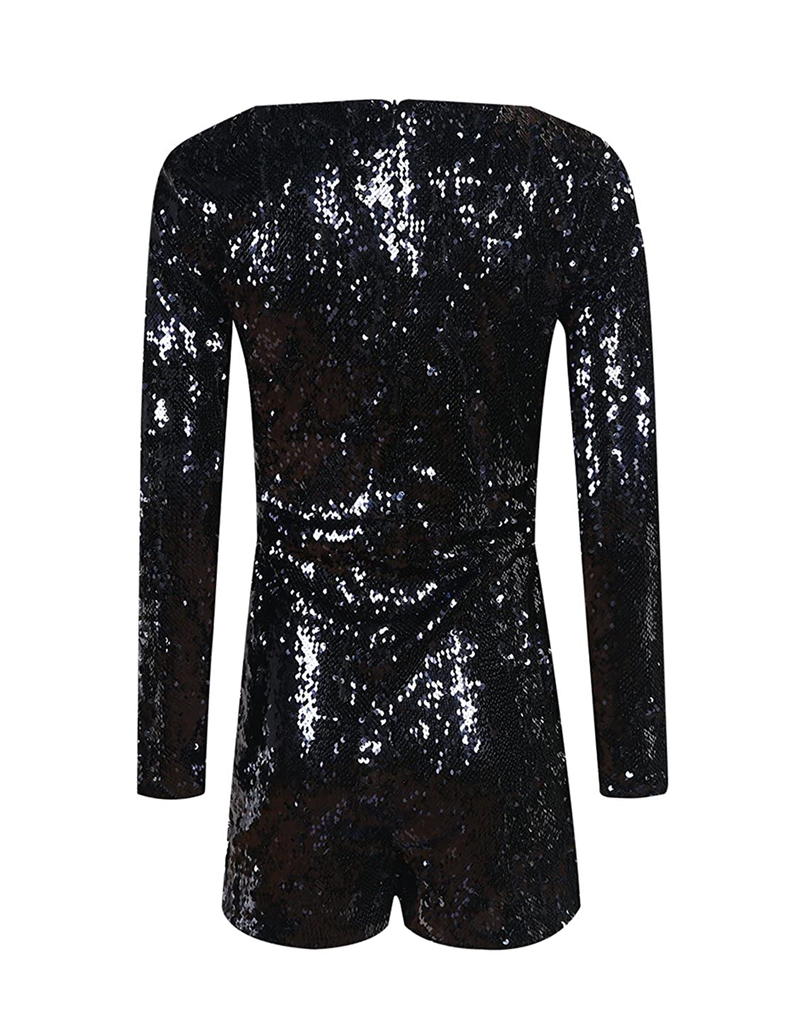 52bcc6907f Amazon.com  Richlulu Womens Sparkly Sequin Plunge V Neck Party Star Romper  Jumpsuit  Clothing