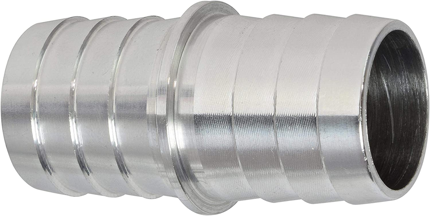 """ICT Billet 1.0"""" to 1.0"""" Inch Hose Barb Splice Coupler Repair Fitting Adapter Connector Radiator Coolant Intercooler Heat Exchanger Fluid Designed & Manufactured in USA Bare Aluminum AN627-16A"""