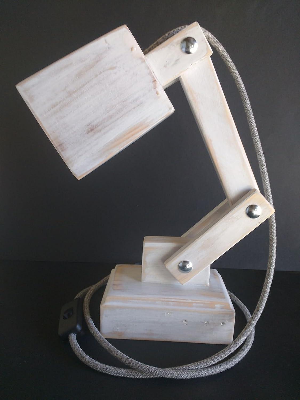 Lámpara flexo led blanca para escritorio de madera reciclada de ...