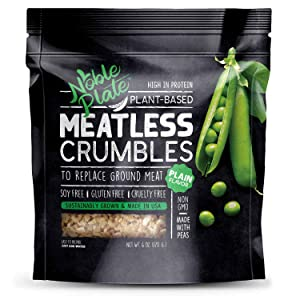 Meatless Crumbles, Soy Free, Non-GMO, Vegan, 45g Protein, 0g Net Carb, Plant-Based Vegan Meat Substitute, Made in USA, TVP/TPP, Wholesome Provisions, 170g (Plain, 1 Pack)