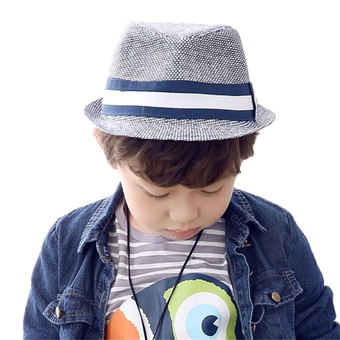 Cappelli di Paglia da Sole Cappello di Jazz Primavera Autunno Ragazzo  Bambini cappello panama af9c4a423b1e