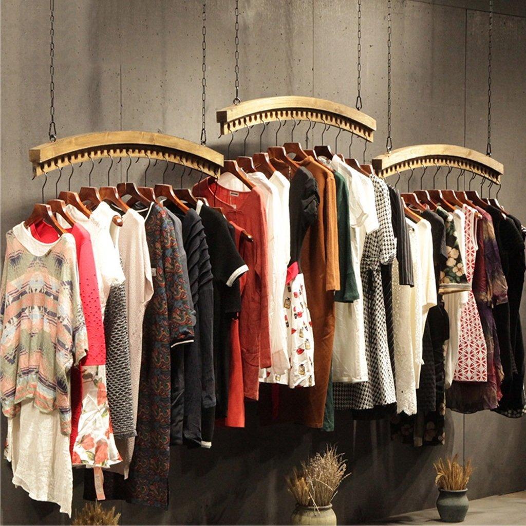 DIKE UK Appendiabiti a parete Appendiabiti da parete in legno per espositori da soffitto in stile vintage per negozio di abbigliamento per uomo e abbigliamento femminile