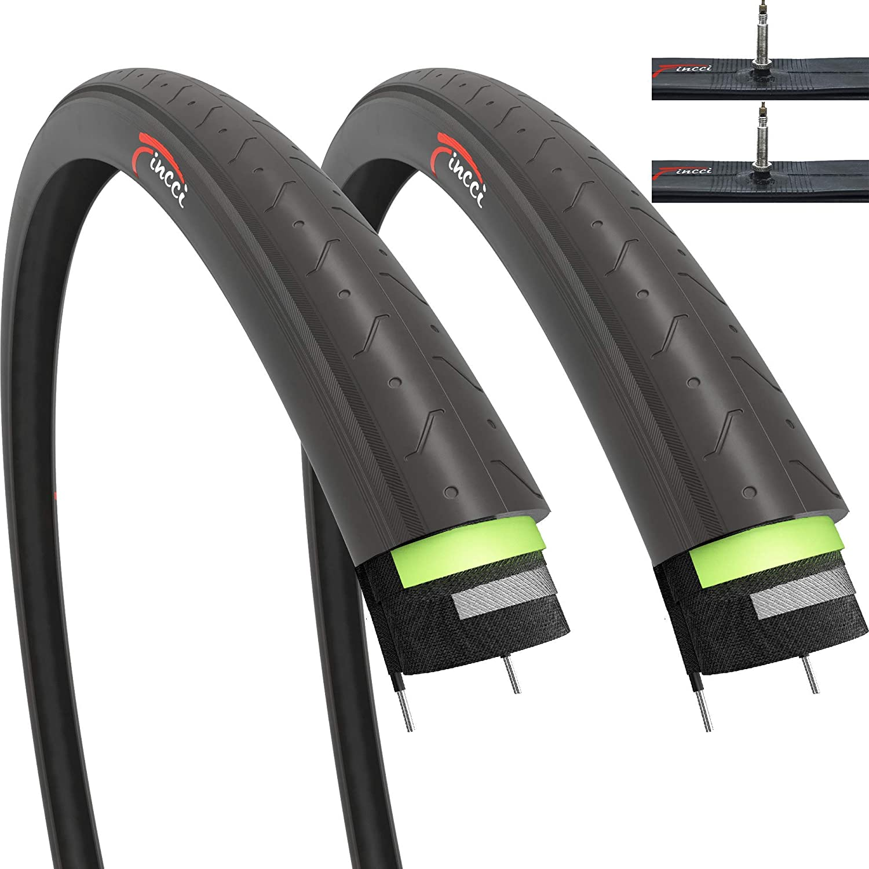 Fincci Set Par 700 x 23c Cubiertas con Cámaras de Aire Presta Válvula Interior y 2.5mm Anti Pinchazo 60TPI para Ciclo Carrera Carretera Turismo Bici Bicicleta (Paquete de 2): Amazon.es: Deportes y