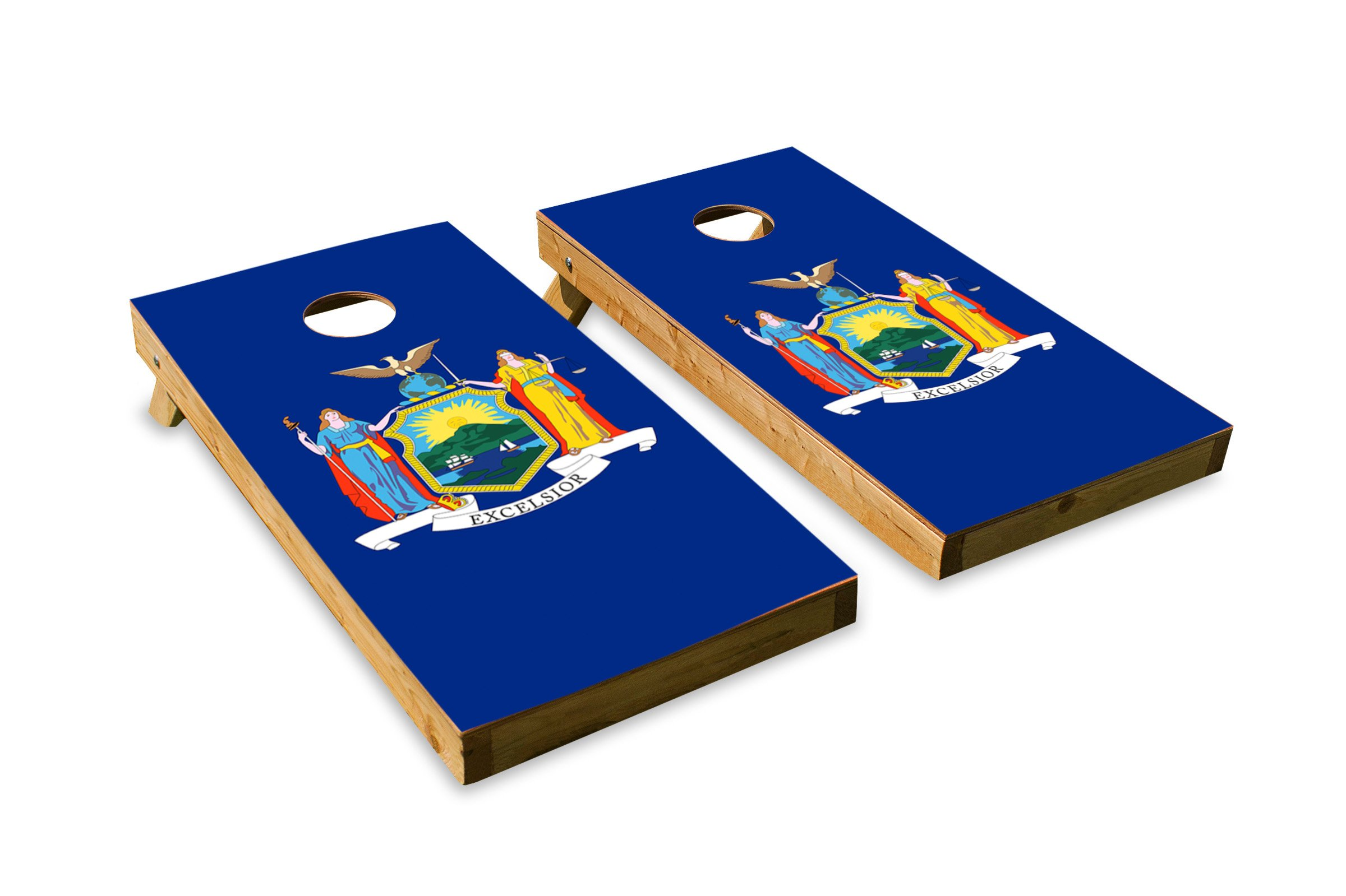 New York State Flag - Cornhole Crew - ACA Regulation Size Cornhole Board Set by The Cornhole Crew