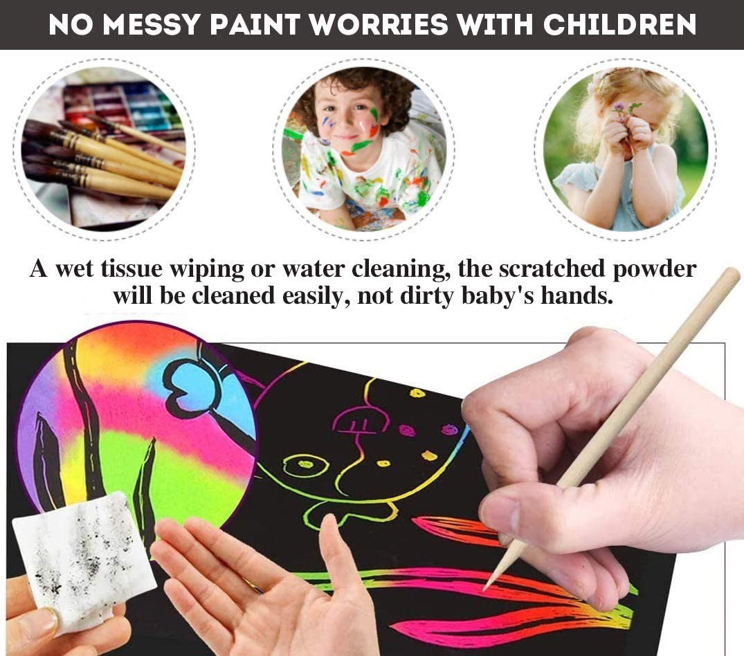 Over 12 Years Old Kids Favor Christmas Birthday Gifts Rainbow Scratch Paper 50 PCs Magic Bright Color Sketch Painting Drawing Scratch Board Card Novelty /& Inspiration Educational Art Craft Kit