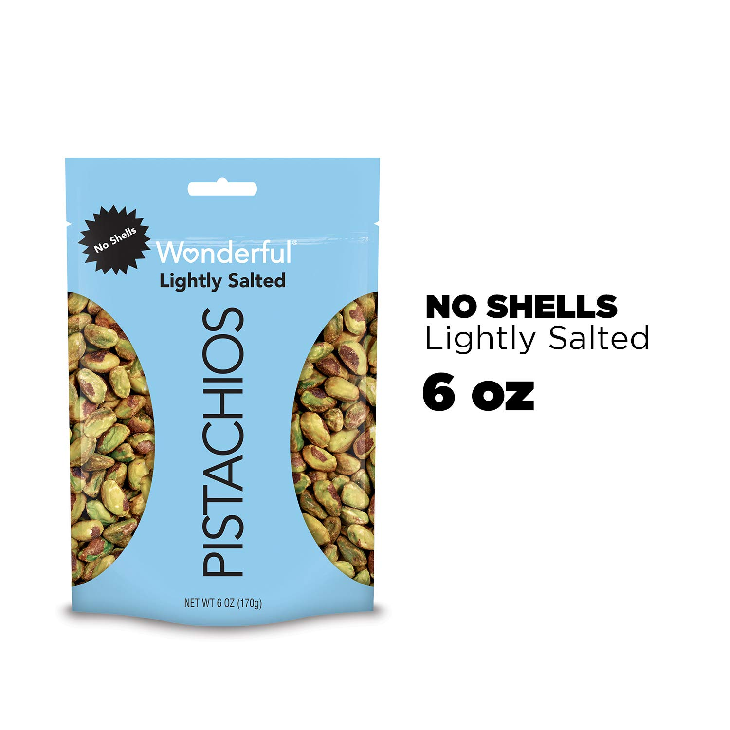 B01NAZ0V43 Wonderful Pistachios, No Shells, Roasted and Lightly Salted, 6 Ounce Resealable Bag 71AN9LhMOqL