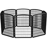 IRIS 34'' Exercise 8-Panel Pet Playpen without Door, Black