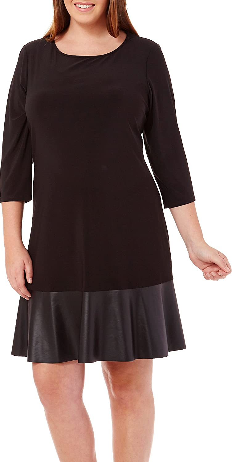 Tiana B Womens Plus-Size Solid Jersey Dress and Faux Leather Bottom Band