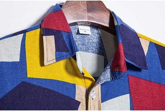 Ecurson Mens Summer Shirt,Fashion Colorful Watercolor Striped Printed Pocket Lapel Collar Short Sleeve Button Shirt Top
