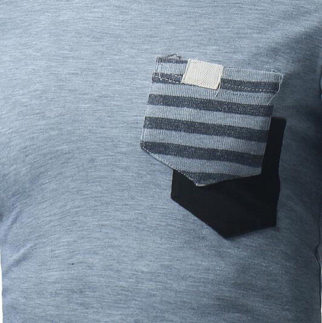 RSunshine Men Cargo Pocket Color Conjoin Fitted V-Neck Long Sleeve Top T-Shirt