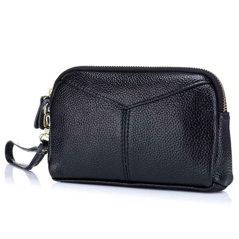 Aladin Large Leather Wristlet Purse, Zip Cell Phone Wallet Iphone 7 Plus 6S Galaxy S7 Note 5 for Women (Black)