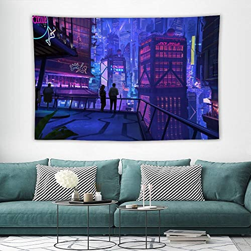 Bargburm Cyber-Punk Cityscape Futuristic Tapestry Wall Hanging Tapestries Black White Wall Blanket Wall Art Home Decor for Living Room Bedroom 39 x 60