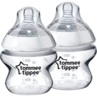 Tommee Tippee 150ml Newborn Baby Feeding BPA-free Bottle with Slow Flow Teat, Clear, 150ML, 152 count