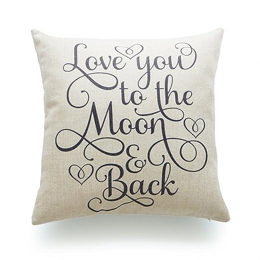hofdeco manta funda de almohada marrón Love You a la luna y ...