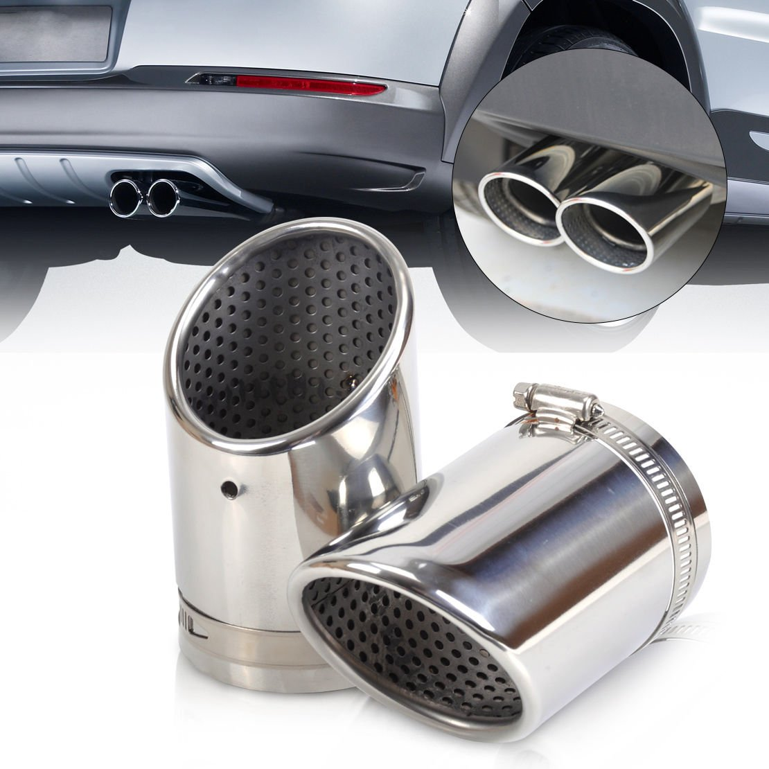KT-Supply Stainless Steel Exhaust Tailpipe Muffler Tip Trim