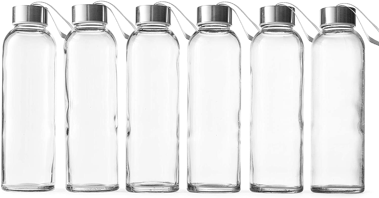 Epica 18-Oz. Glass Beverage Bottles with Carrying Loop Cap, Set of 6