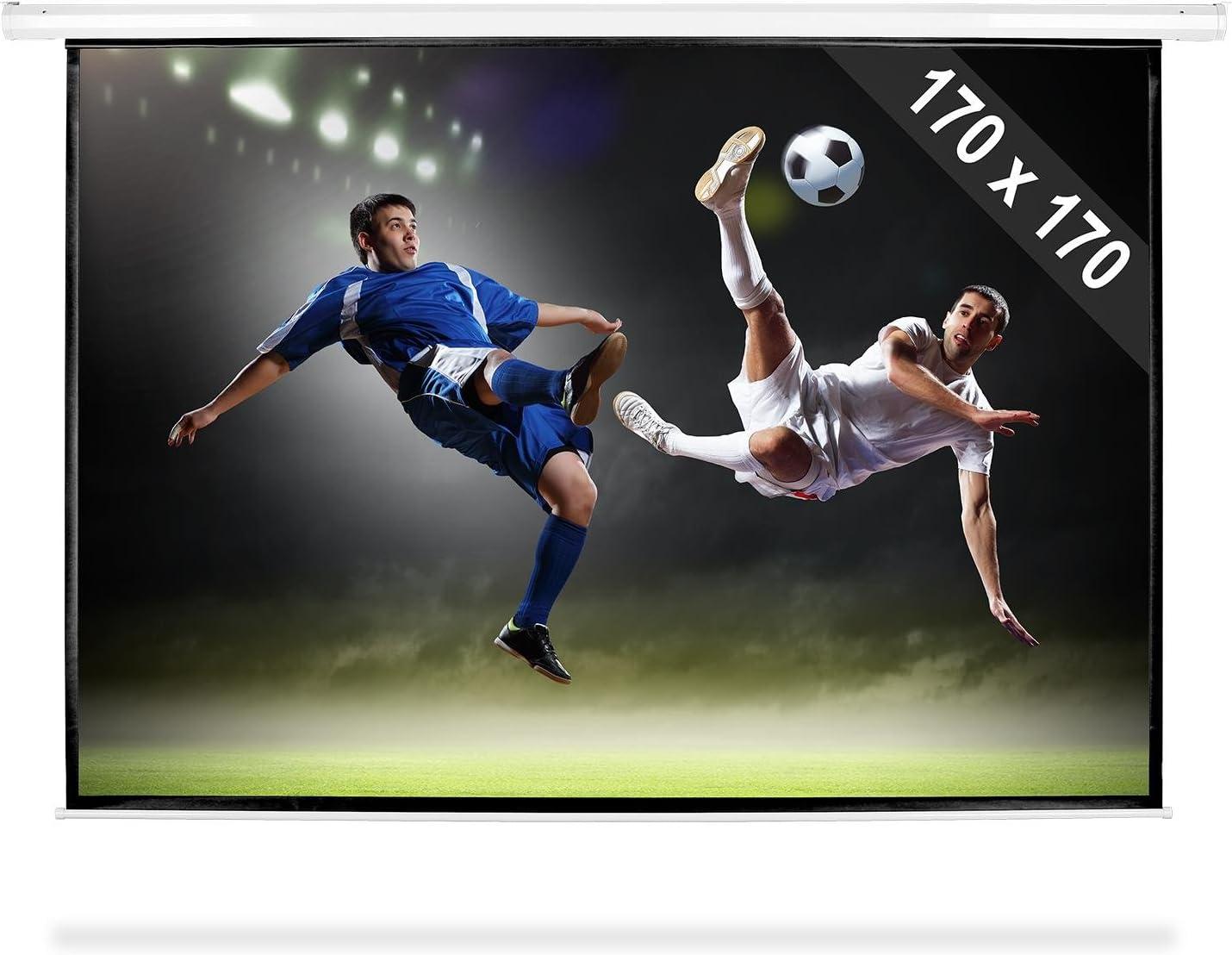 TALLA 170 x 170 cm. FrontStage Pantalla para proyector 170 x 170 cm 1:1 (para proyecciones HDTV, recubierta con Fibra de Vinilo, fácil de Limpiar, optimizada para proyectores DLP y LCD, Home Cinema)