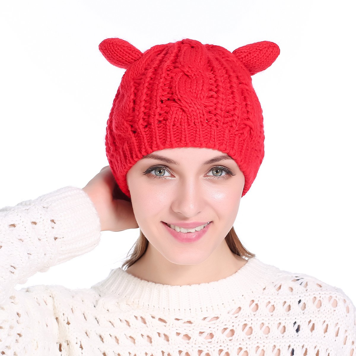 e97e97849ba Amazon.com  Cat Ear Beanie Knit Hat for Women Lovely Teens Warm Crochet Braided  Ski Caps Black  Clothing