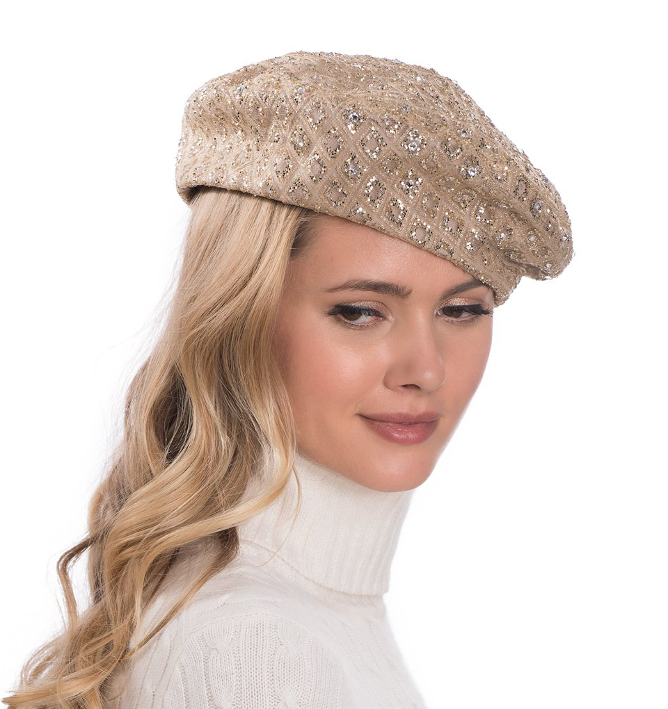 Eric Javits Luxury Fashion Designer Women's Headwear Hat - Glitter - Gold by Eric Javits