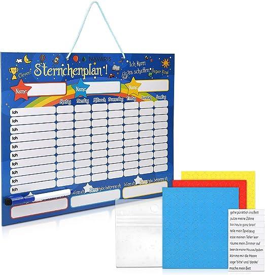 Belohnungstafel für bis zu drei Kinder Feste Tafel, Magnetischer Sternchenplan