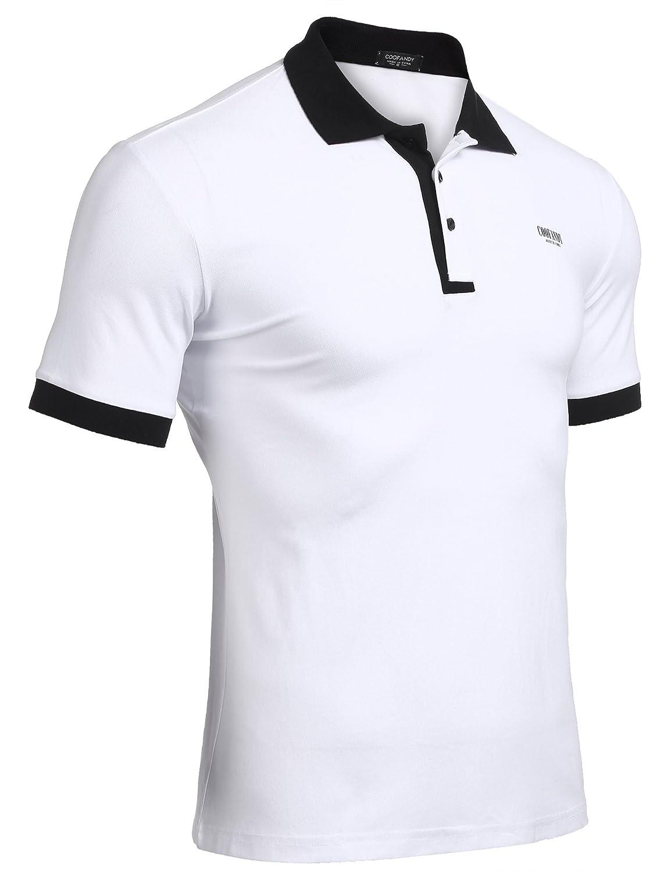 Wixens Camiseta de Polo Hombre Manga Corta Patchwork con Botones Verano AkdCYyHuF