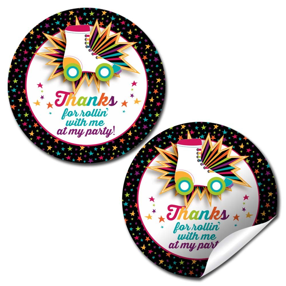 Roller Skating Birthday Party Thank You Sticker Labels, 40 2'' Party Circle Stickers by AmandaCreation, Great for Party Favors, Envelope Seals & Goodie Bags