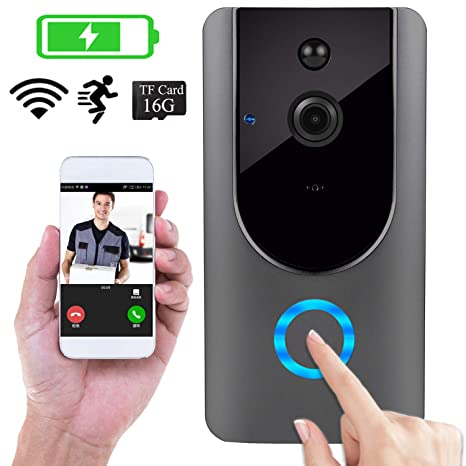 Amazon.com : Doorbell Smart Camera with 16GB TF Card IP WI ...