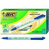 BIC ECOlutions Retractable Ball Pen, Medium Point (1.0 mm), Blue, 12 Pens