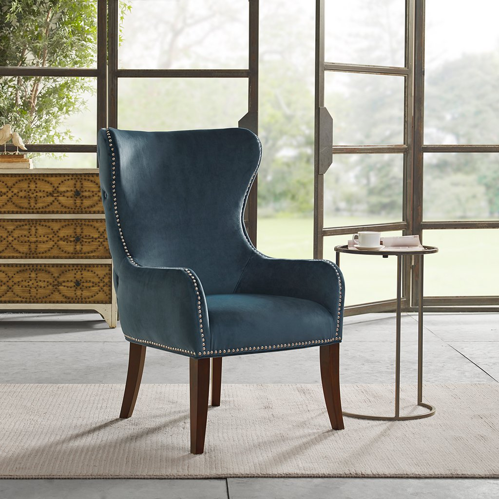 amazon com hancock button tufted back accent chair blue see below