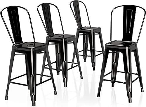 VIPEK 24 Inches Counter Height Bar Stools Commercial Grade Patio Bar Chairs Metal 24″ Height Barstool