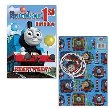 Thomas The Tank Engine Grandson 1st Birthday Card Gift Wrap Amazoncouk Toys Games