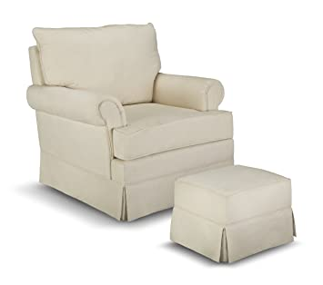 Thomasville Kids Grand Royale Upholstered Swivel Glider And Ottoman, Beige