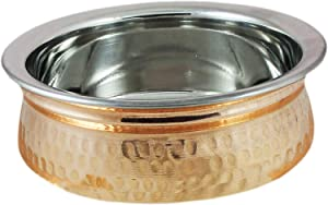 Stainless steel-copper serving Bowl for serving food & vegetables (6-inch) (1)