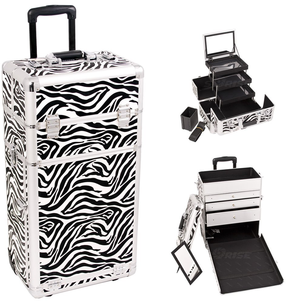 Sunrise I3563ZBWH Zebra Professional Rolling Aluminum Cosmetic Makeup Craft Storage Organizer Case with Large Drawers and 3 Tiers Extendable Trays with Mirror and Brush Holder