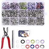 200 Sets Snap Fasteners Kit Tool, Metal Snap Buttons Rings with Fastener Pliers Press Tool Kit for Clothing 10 Colors 9…