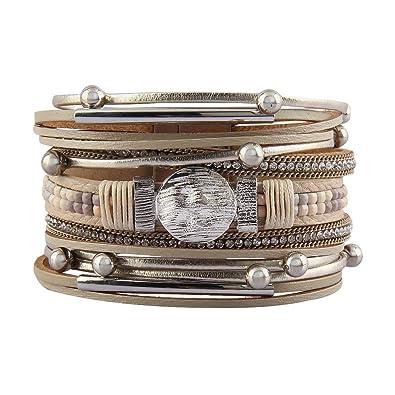 b1b4e7182a2cb7 JAOYU Bracelet Cuir Femmes - Bracelets Beadand Strass - Bijoux Faits Main  de Manchette pour Fille - Adolescente, Soeur, Cadeaux pour Enfants