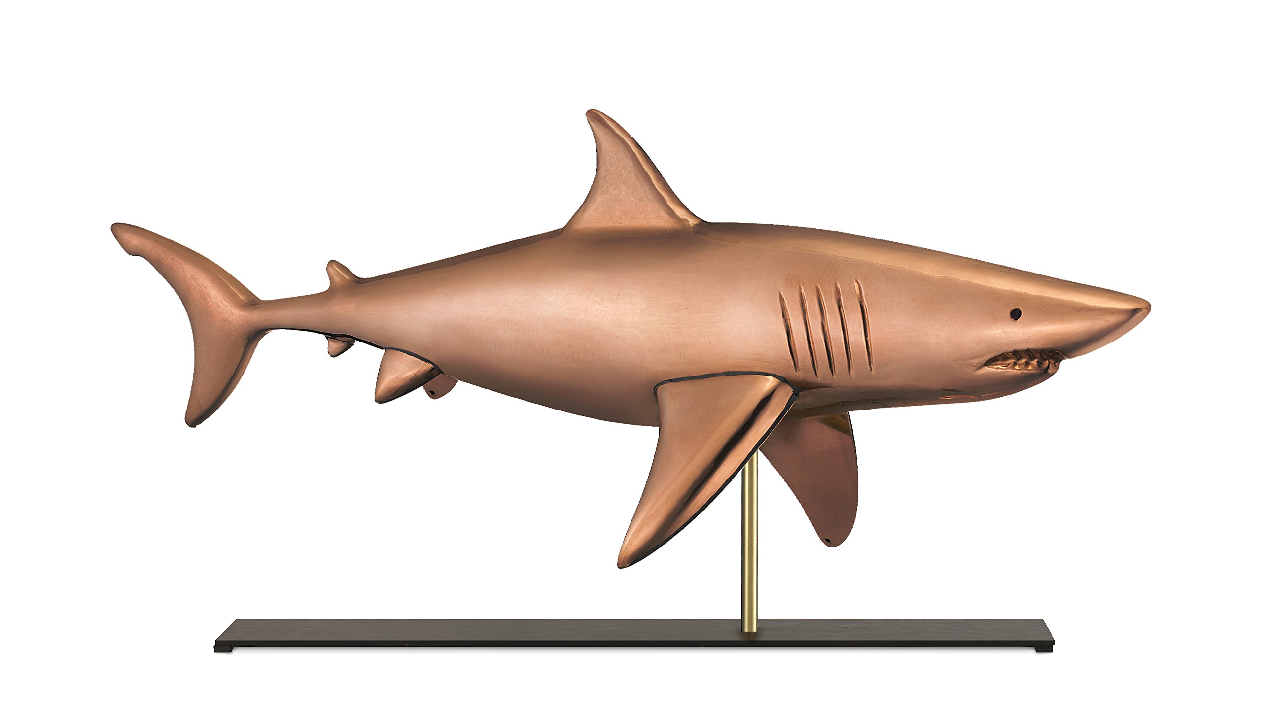 Good Directions Shark Weathervane Sculpture on Mantel / Fireplace Stand, Pure Copper, Nautical Home Décor, Tabletop Accent