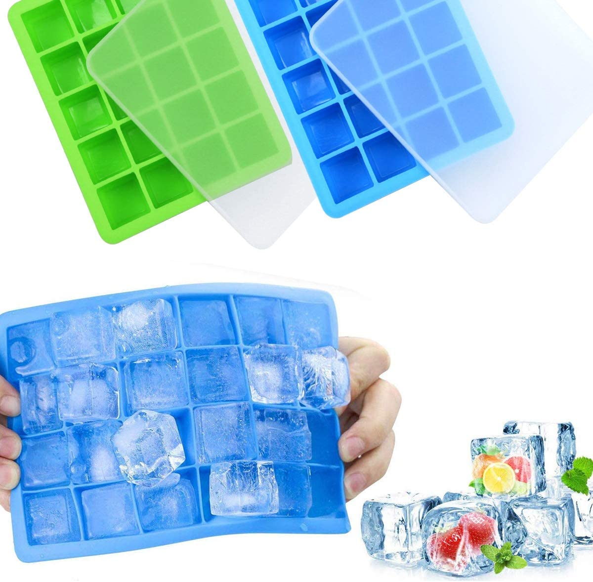 gla/çons Non Toxiques sans BPA Bleu + Vert lib/ération Facile et Flexible Fodlon Moule /à gla/çons,Paquet de 2 moules /à gla/çons en Silicone 20 Grands et Petits gla/çons carr/és