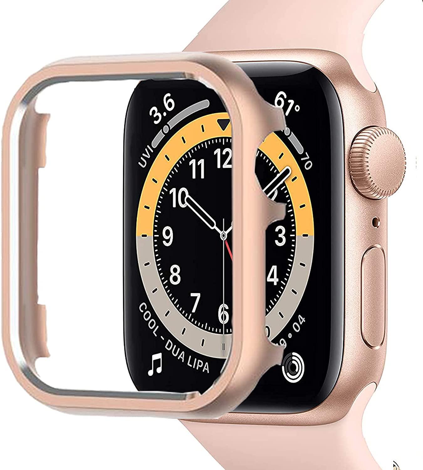 Compatible with Apple Watch SE Series 6/5/4 Case 40mm[No Screen Protector] Impact Resistant Aluminium Bumper Case for Apple Watch SE Series 6/5/4(Rose Gold)